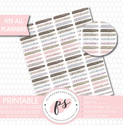 Watercolour Days of the Week & Weekend Brushstroke Headers Printable Planner Stickers - Plannerologystudio