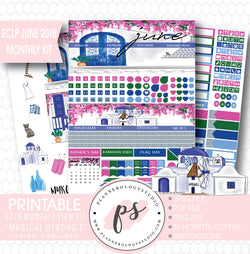 """Magical Mykonos"" June 2018 Monthly View Kit Printable Planner Stickers (for use with ECLP) - Plannerologystudio"