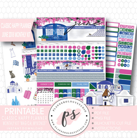 """Magical Mykonos"" June 2018 Monthly View Kit Printable Planner Stickers (for use with Classic Happy Planner) - Plannerologystudio"
