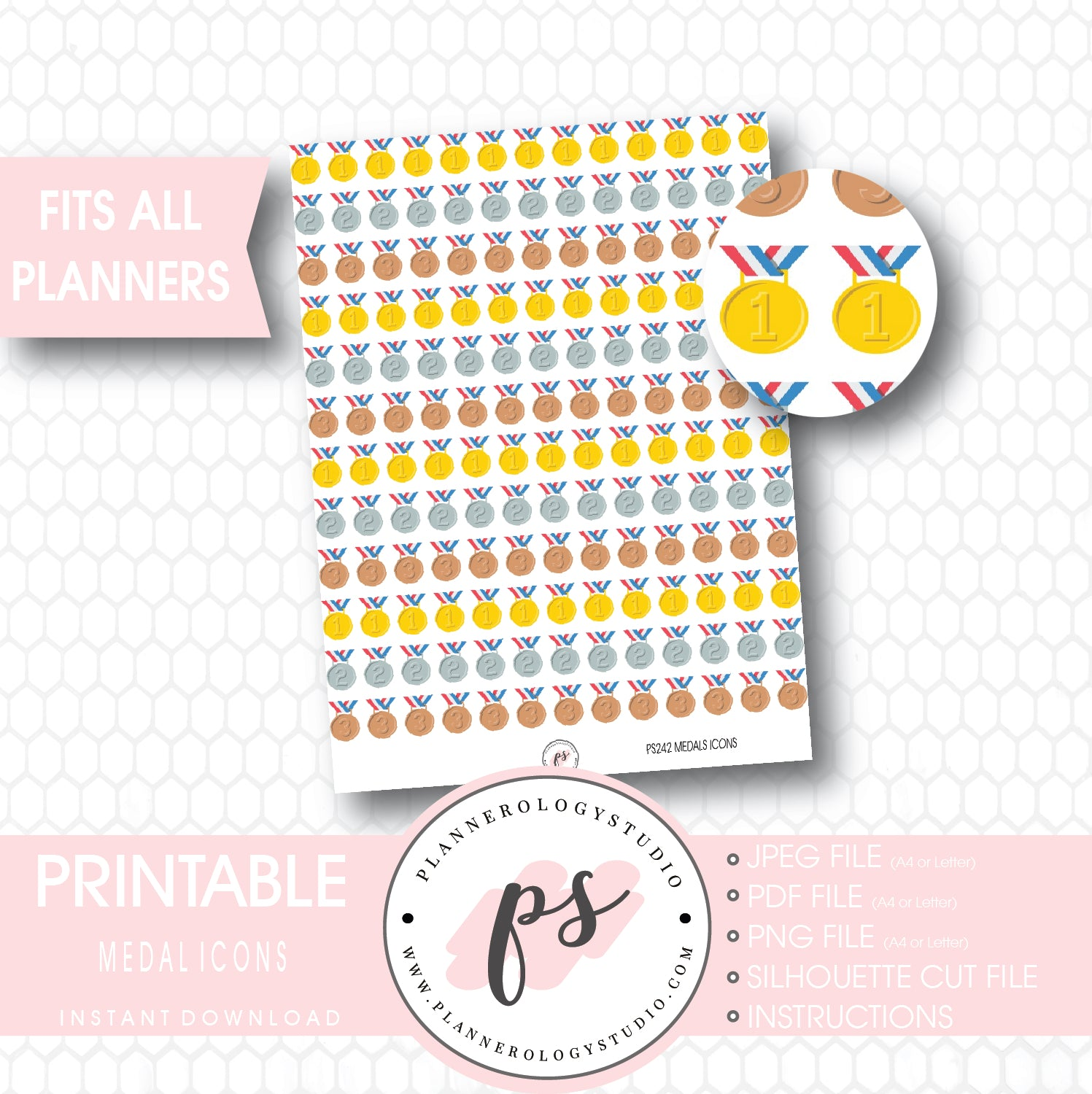 photo about Printable Medals named Medals (Gold, Silver Bronze) Icons Printable Planner Stickers