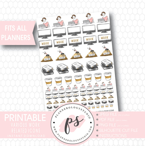 Various Work, Coffee, Pay Day Icons Printable Planner Stickers - Plannerologystudio