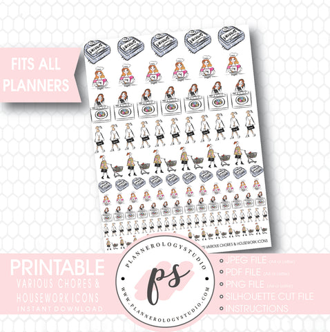 Various Chores, Housework & Lifestyle Icons Printable Planner Stickers - Plannerologystudio