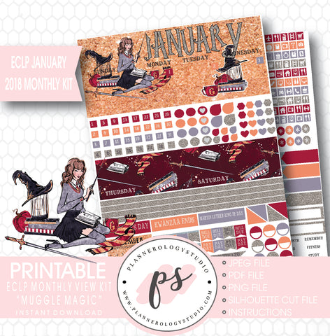 Muggle Magic (Harry Potter Theme) January 2018 Monthly View Kit Printable Planner Stickers (for use with ECLP) - Plannerologystudio