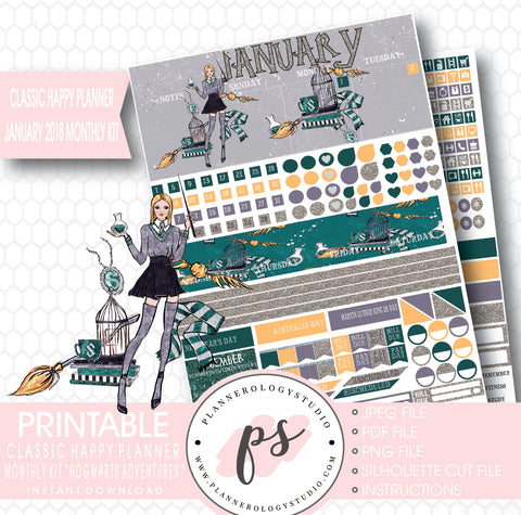 Hogwarts Adventures (Harry Potter Theme) January 2018 Monthly View Kit Printable Planner Stickers (for use with Classic Happy Planner) - Plannerologystudio