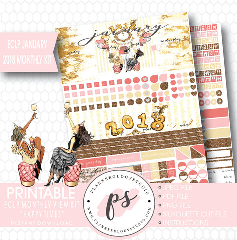 Happy Times New Year's January 2018 Monthly View Kit Printable Planner Stickers (for use with ECLP) - Plannerologystudio