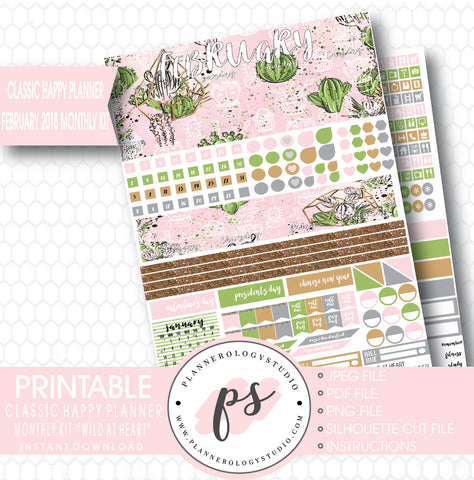 Wild at Heart February 2018 Monthly View Kit Printable Planner Stickers (for use with Classic Happy Planner) - Plannerologystudio