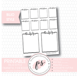 Bullet Journal Bujo Thankful For Boxes Printable Planner Stickers - Plannerologystudio