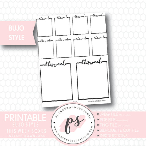 Bullet Journal Bujo This Week Boxes Printable Planner Stickers - Plannerologystudio