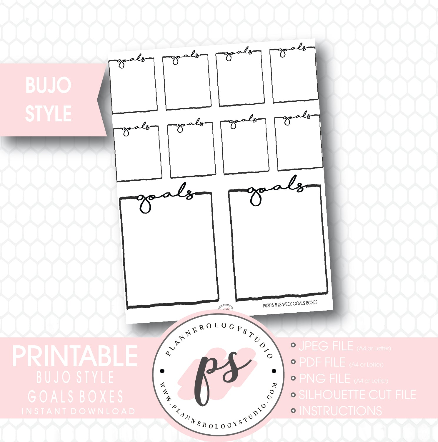 photo regarding Goals Printable named Bullet Magazine Bujo Objectives Packing containers Printable Planner Stickers