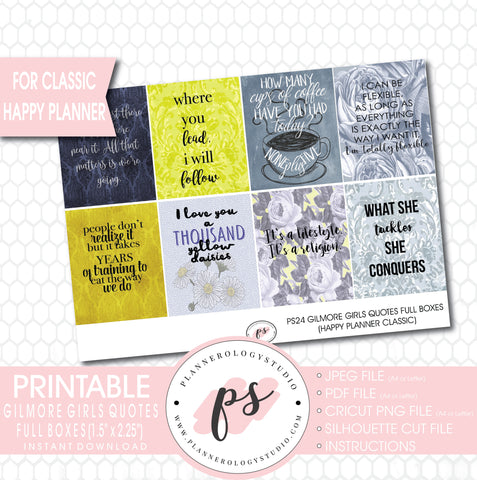 Gilmore Girls Quotes Full Box Printable Planner Stickers (for use with Classic Happy Planner) - Plannerologystudio