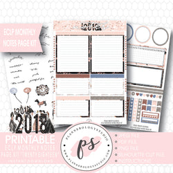 Twenty Eighteen 2018 New Year's Monthly Notes Page Kit Printable Planner Stickers (for use with ECLP) - Plannerologystudio