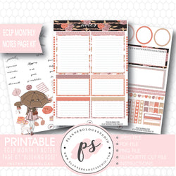Blushing Rose Monthly Notes Page Kit Printable Planner Stickers (for use with ECLP) - Plannerologystudio