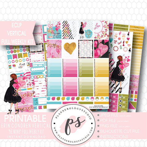 Be Mine Valentine's Day Full Weekly Kit Printable Planner Stickers (for use with ECLP Vertical) - Plannerologystudio