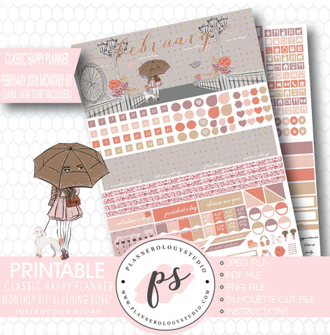 Blushing Rose February 2018 Monthly View Kit Printable Planner Stickers (Dark & Light Skintone) (for use with Classic Happy Planner) - Plannerologystudio