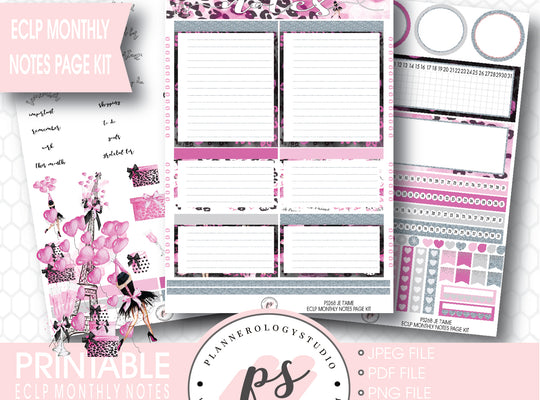 Je T'aime Valentines Day Theme Monthly Notes Page Kit Printable Planner Stickers (for use with ECLP) - Plannerologystudio
