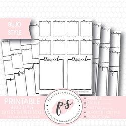 Bullet Journal Bujo Days of the Week (Monday to Friday) Boxes Printable Planner Stickers - Plannerologystudio