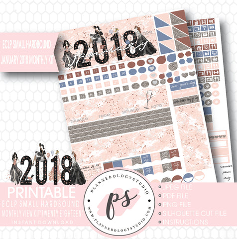 Twenty Eighteen New Year's January 2018 Monthly View Kit Printable Planner Stickers (for use with ECLP Small Hardbound) - Plannerologystudio