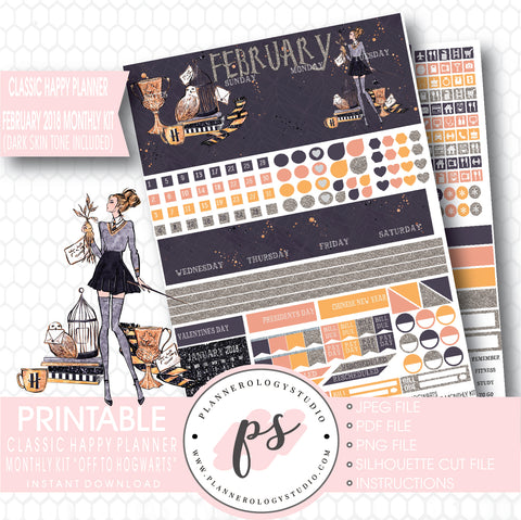 Off to Hogwarts (Harry Potter Theme) February 2018 Monthly View Kit Printable Planner Stickers (for use with Classic Happy Planner) (Dark & Light Skin Tone) - Plannerologystudio