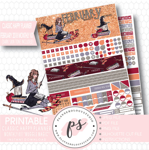 Muggle Magic (Harry Potter Theme) February 2018 Monthly View Kit Printable Planner Stickers (for use with Classic Happy Planner) (Dark & Light Skin Tone) - Plannerologystudio