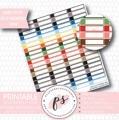 Monthly View Appointment Quarter Boxes Printable Planner Stickers (for use with ECLP) - Plannerologystudio