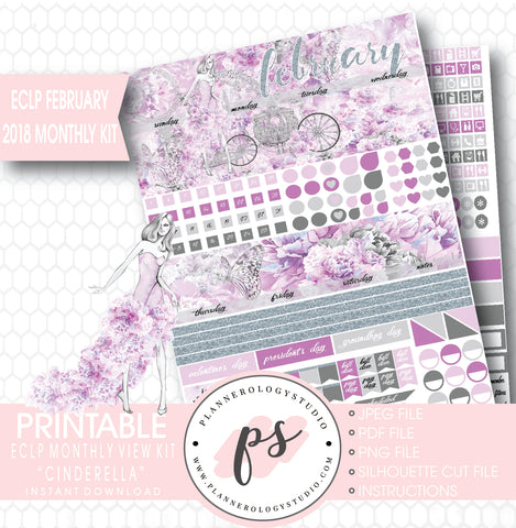 Cinderella February 2018 Monthly View Kit Printable Planner Stickers (for use with ECLP) - Plannerologystudio