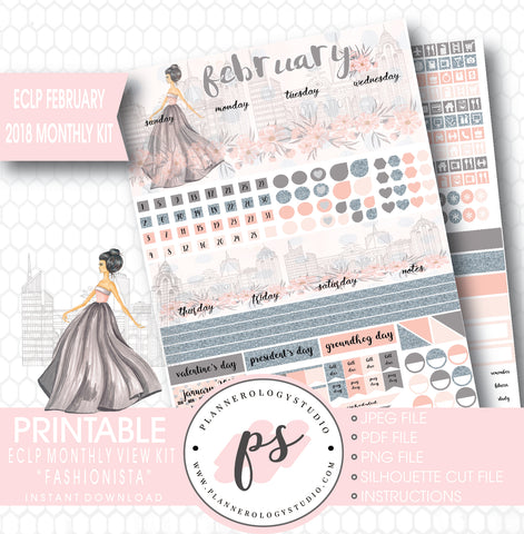 Fashionista February 2018 Monthly View Kit Printable Planner Stickers (for use with ECLP) - Plannerologystudio