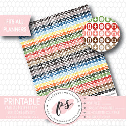 Various Lifestyle Mini Icon Printable Planner Stickers - Plannerologystudio