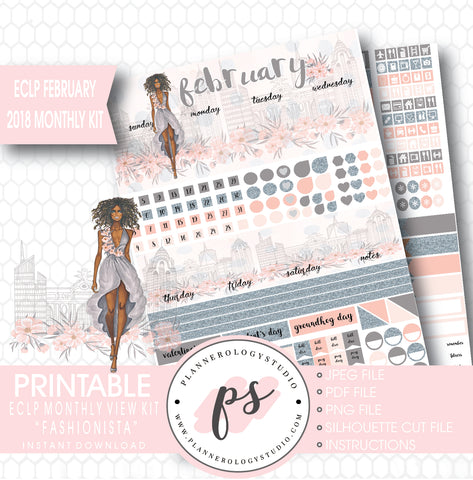 Fashionista (Dark Skin Tone) February 2018 Monthly View Kit Digital Printable Planner Stickers (for use with ECLP) - Plannerologystudio