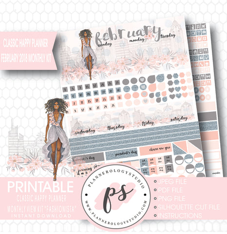 Fashionista (Dark Skin Tone) February 2018 Monthly View Kit Digital Printable Planner Stickers (for use with Classic Happy Planner) - Plannerologystudio