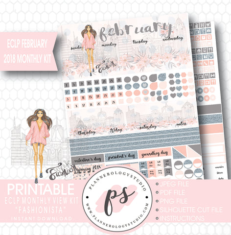 Fashionista February 2018 Monthly View Kit Digital Printable Planner Stickers (for use with ECLP) - Plannerologystudio
