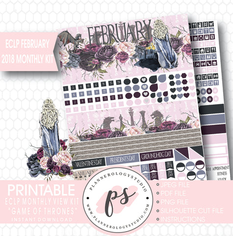 Game of Thrones (GOT) February 2018 Monthly View Kit Digital Printable Planner Stickers (for use with ECLP) - Plannerologystudio