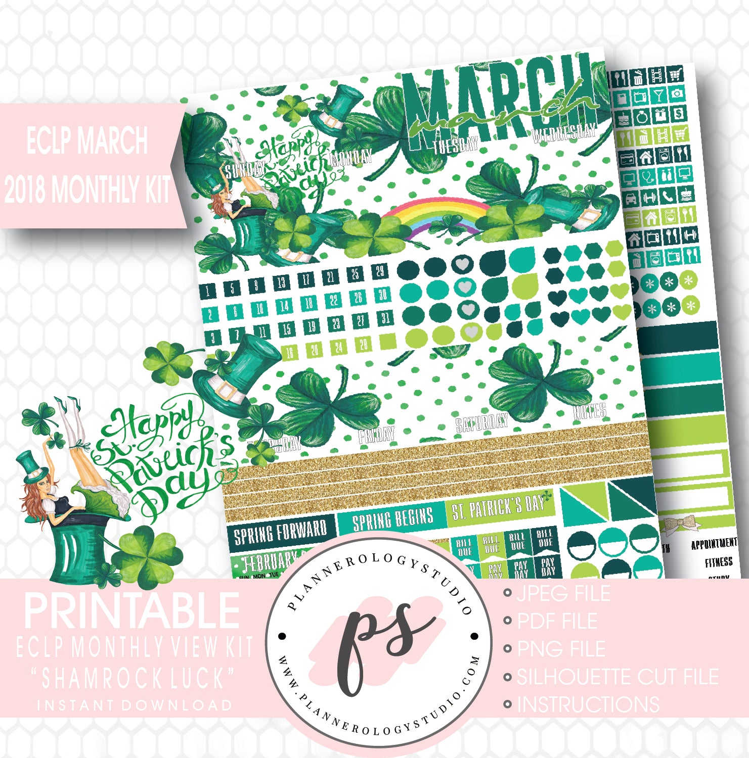 Lucky You March Monthly 2 Page Sticker Kit for Erin Condren Planner