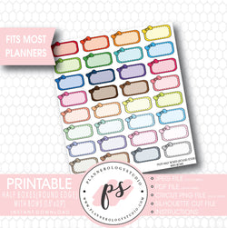 Half-Box (Round Edge) with Bow Printable Planner Stickers - Plannerologystudio