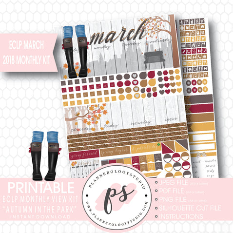 Autumn in the Park March 2018 Monthly View Kit Digital Printable Planner Stickers (for use with ECLP) - Plannerologystudio