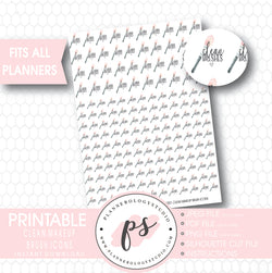 Clean Makeup Brushes Icons Digital Printable Planner Stickers - Plannerologystudio