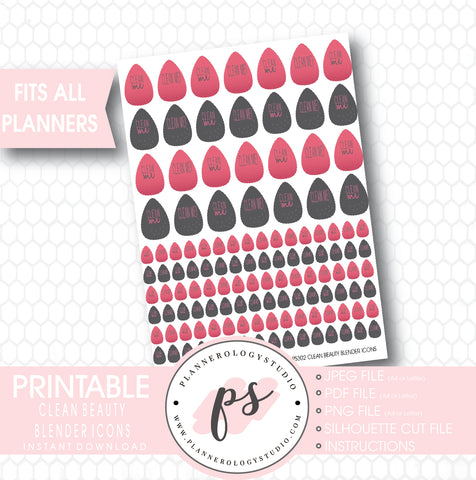 Clean Beauty Blender Makeup Sponge Icons Digital Printable Planner Stickers - Plannerologystudio
