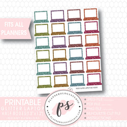 Glitter Laptop Half Boxes Digital Printable Planner Stickers - Plannerologystudio