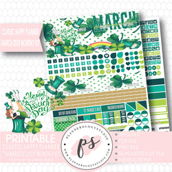 Shamrock Luck St Patrick's Day March 2018 Monthly View Kit Digital Printable Planner Stickers (for use with Classic Happy Planner) - Plannerologystudio