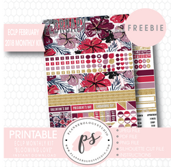 Blooming Love ECLP Erin Condren February 2018 Monthly Kit Digital Printable Planner Stickers (PDF/JPG/PNG/Silhouette Cut File Freebie) - Plannerologystudio