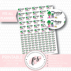 Green Juicing/Detox/Cleansing Icons Digital Printable Planner Stickers - Plannerologystudio