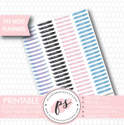 "Holographic Brushstroke ""Today"" Header Printable Planner Stickers - Plannerologystudio"