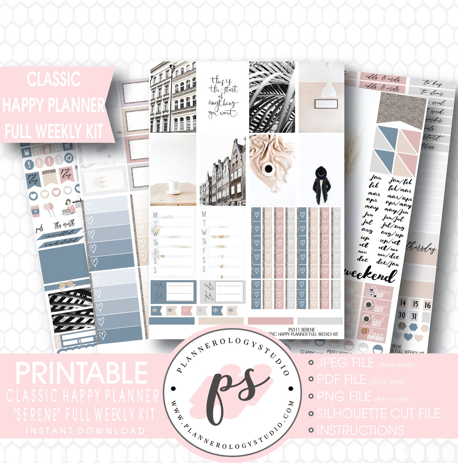 Serene Stock Photography Full Weekly Kit Digital Printable Planner Stickers For Use With Classic Happy