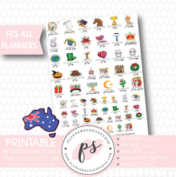 Various Australian Holiday & Public Holiday Icons Digital Printable Planner Stickers - Plannerologystudio