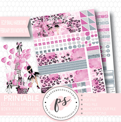 Je T'aime Valentine's Day February 2018 Monthly View Kit Printable Planner Stickers (for use with ECLP Small Hardbound) - Plannerologystudio