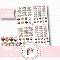 Kawaii Cute Sushi Time Icons Digital Printable Planner Stickers - Plannerologystudio