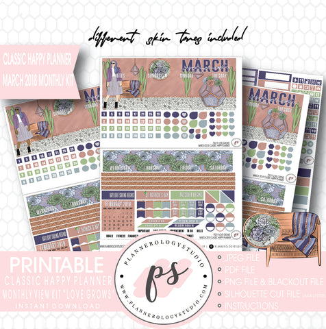 Love Grows March 2018 Monthly View Kit Digital Printable Planner Stickers (for use with Classic Happy Planner) - Plannerologystudio