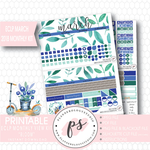 Bloom March 2018 Monthly View Kit Digital Printable Planner Stickers (for use with Erin Condren) - Plannerologystudio