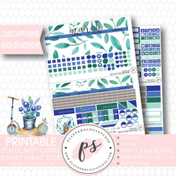 Bloom March 2018 Monthly View Kit Digital Printable Planner Stickers (for use with Classic Happy Planner) - Plannerologystudio