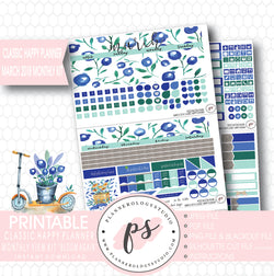 Bloom Again March 2018 Monthly View Kit Digital Printable Planner Stickers (for use with Classic Happy Planner) - Plannerologystudio