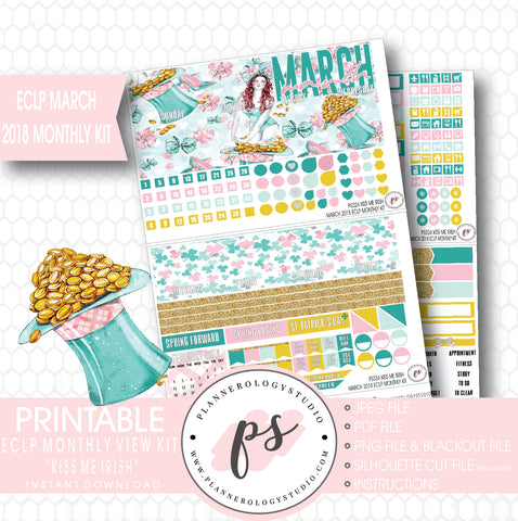 Kiss Me Irish St. Patrick's Day March 2018 Monthly View Kit Digital Printable Planner Stickers (for use with Erin Condren) - Plannerologystudio